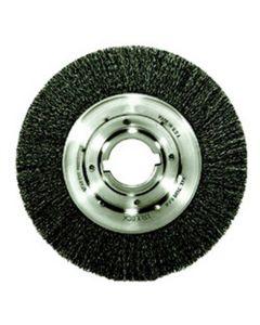 "Bench Grinder Wire Wheel, 10"" Diameter, .020 Crimped Wire, Medium Face, 2"" Arbor, 4,500 RPM Max"