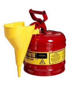 Red Metal Safety Can, Type 1, Two Gallon, with Yellow Plastic Funnel, for Gasoline