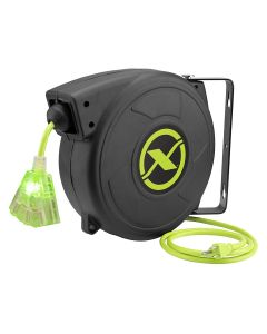 Flexzilla Retractable Extension Cord Reel, 50', 14/3 AWG SJTOW, Grounded Triple Tap Outlet, Indoor/Dry Locations