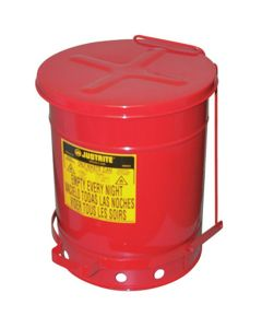 10 Gallon Oily Waste Can with Foot-Operated Self-Closing Cover