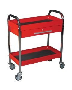 Steel Service Tool Cart with 1-Drawer and 2-Shelves, Measures 17-1/2 in. W x 29-1/4 in. L x 34 in. H