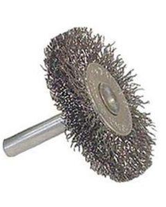 "Wire Wheel, 2"" Diameter, Coarse Crimped Wire, 1/4"" Round Stem, 20,000 RPM Max"