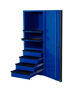 """EXQ Series 24""""W x 30""""D 4 Drawer and 2 Shelf Professional Side Cabinet  Blue w Black Handles"""