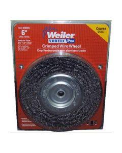 "Bench Grinder Wire Wheel, 6"" Diameter, Coarse Crimped Wire, Medium Face, 5/8"" to 1/2"" Arbor"