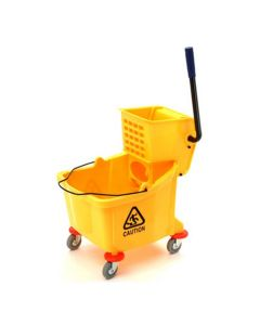 Plastic Yellow Mop Bucket, with Wringer, 26 Quart Capacity, with Non-Marking Casters
