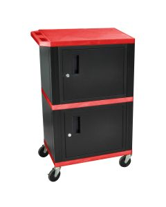 """42"""" Red Tuffy Audio-Visual Double Cabinet - 200 lb. Capacity"""