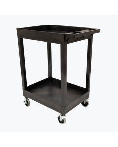 24 x 18 Plastic Utility Tub Cart - Two Shelf-Black