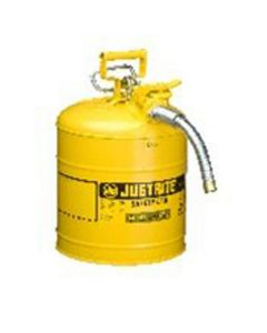 """Yellow Metal Safety Can, Type ll AccuFlow, 5 Gallon, with 5/8"""" x 9"""" Flexible Metal Hose, for Diesel"""
