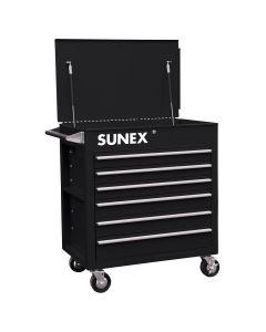 Sunex Tools 6-Drawer Full-Drawer Professional Cart, Black
