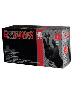 Gloveworks Heavy Duty Black Nitrile Gloves - Large
