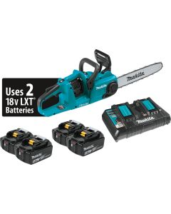 """18V X2 (36V) LXT 5.0-Ah Lith-Ion Brushless Cordless 14"""" Chain Saw Kit w/ 4 Batteries"""