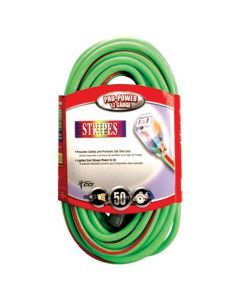 Extra Rugged 50 ft. Lighted Ends Extension Cord, 12/3, High Visibity Green w/ Red Stripe