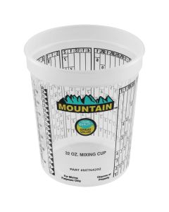 Mountain Disposable Quart Plastic Mixing Cup (100 per case) featuring Multiple Mixing Ratios
