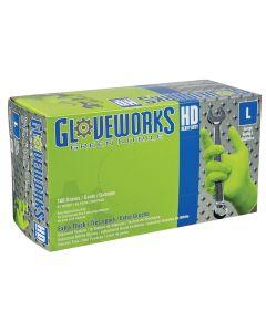 Gloveworks HD Green Nitrile Diamond Grip Large