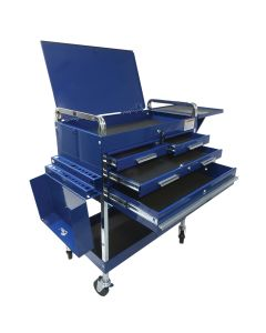 Sunex Tools Deluxe Service Cart w/ Locking Top, 4-Drawers and Extension Storage, Blue