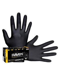Raven Black 6mil Powder-Free Nitrile Gloves, Large (Pack of 100)