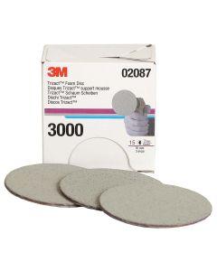 """3M Trizact Hookit Foam Discs, 3"""", P3000 Grit 15/Box"""