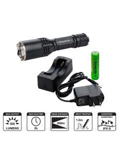 Tactical Aluminum Rechargeable Flashlight, 400 Lumens