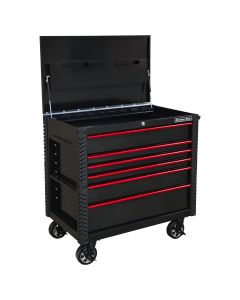 41 in. 6-Drawer Tool Cart w/Bumpers, Black w/Red-Drawer Pulls