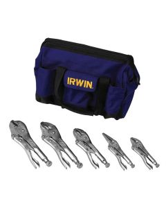 Vise-Grip Irwin 5-Piece Locking Pliers Set in a Canvas Tool Tote Bag