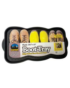 """Plastic Boot Tray, 29-1/2"""" x 15"""", Durable Plastic with Raised Edge, Holds Three Pair of Boots"""