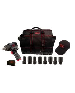 """3/4"""" Drive Mighty Seven Air Tool Kit With Tool Bag And 8 Piece 3/4"""" Dr. SAE Deep Impact Socket Set"""