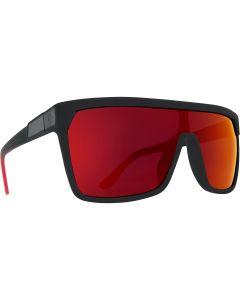 Spy Optic Flynn Sunglasses, Soft Matte Black Red Fade Frame w/ HD Plus Gray Green w/ Red Light Spectra Mirror Lens