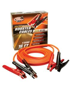 Heavy Duty Battery Booster Cables, 16 Foot, 6 Gauge, with Polar-Glo Amp Clamps