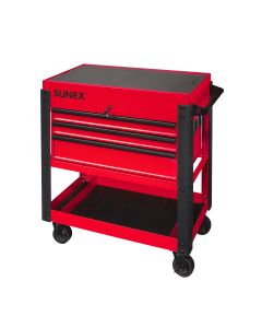 Sunex Tools 3-Drawer Utility Cart w/ Sliding Top, Red