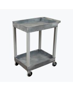 24 x 18 Plastic Utility Two Shelf Tub Cart, Gray