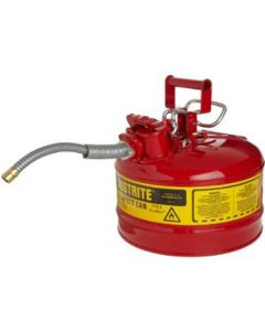 """Red Metal Safety Can, Type ll, 2-1/2 Gallon Capacity, 5/8"""" x 9"""" Flexible Metal Hose, for Gasoline"""