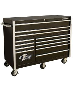 "Extreme Tools 55"" 12-Drawer Roller Cabinet, Black"