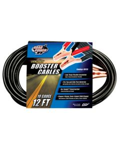 Light Duty Battery Booster Cables, 12 Foot, 10 Gauge, with 200 Amp Clamps