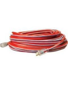 Extension Cord, Extra Rugged, 100 Foot, 12/3, Lighted Ends, Red, White and Blue Stripes
