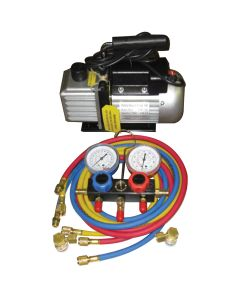 Vacuum Pump and R134a Manifold Gauge Set