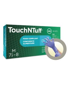 TouchNTuff 92-675 Nitrile Gloves - Disposable, Non-Latex, Gloves Size Large (Pack of 100)