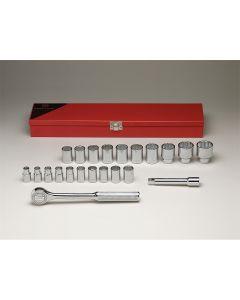 "1/2"" Drive 22 Piece Metal Boxed Set - 12-Point Standard Metric Sockets, 9mm - 32mm, Ratchet, 5"" Extension"