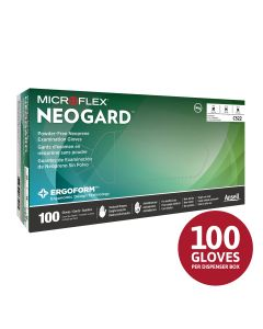 MICROFLEX NEOGARD C52 Disposable Gloves Non-Latex Multi-Purpose, Powder Free Neoprene Exam Glove for Healthcare, Cleaning, Veterinary or Laboratory Settings, Green, Size Small, Box of 100 units