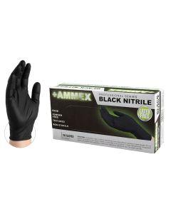 AMMEX Black Nitrile PF Exam Gloves, X-Large
