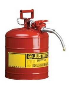 """Red Metal Safety Can, Type ll, Two Gallon Capacity, with 5/8"""" x 9"""" Flexible Metal Hose, for Gasoline"""