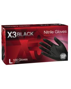 X3 Powder Free, Textured, Black Nitrile Large