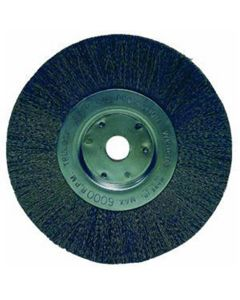 """Bench Grinder Wire Wheel, 6"""" Diameter, Fine Crimped Wire, Narrow Face, 5/8"""" to 1/2"""" Arbor"""