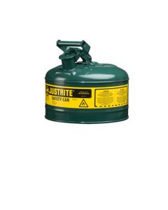 Green Metal Safety Can, Type 1, Two Gallon Capacity, for Oil and Other Flammable Liquids