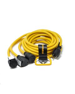 Power Cord L5-30P to 3x5-20R 25ft Extension 10 AWG and Storage Strap