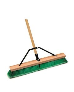 Indoor Push Broom, 24 in. Wide Wood Block, with 3 in. Fine Synthetic Bristles, 60 in. Lacquered Handle