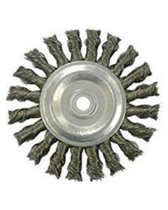 """Bench Grinder Wire Wheel, 4"""" Diameter, Coarse Knotted Wire, Wide Face, 1/2"""" to 3/8"""" Arbor"""
