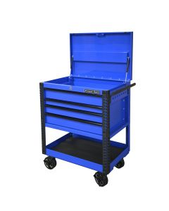 33 4 Drwr Deluxe Tool Cart w Bumpers, Blue w/Black Quick Release Drwr Pulls