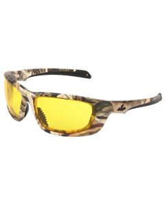 Mossy Oak Blades UD1 Series Camouflage Safety Glasses Mossy Oak Shadow Grass Blades Camo Pattern Amber Yellow Lenses w/ MAX6, Anti-fog Coating