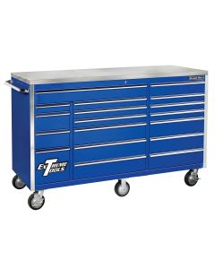 Extreme Tools 72 in. 18-Drawer Triple Bank Roller Cabinet, Blue