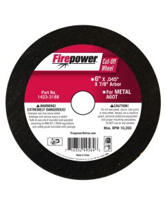 Type 1 Cut Off Abrasive Wheels, 6 x .045 x 7/8